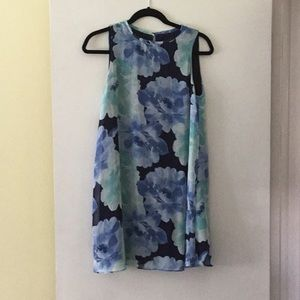 JH MINI DRESS dark blue with blue floral print